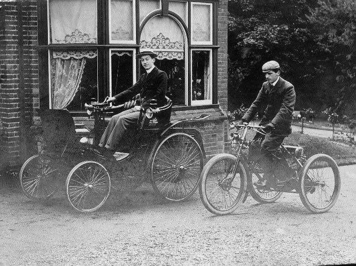 Count Jules-Albert De Dion and Georges Bouton started manufacturing petro-driven tricycles in 1897