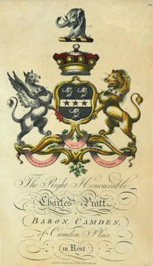 A print of the Camden coat of arms dated 1768
